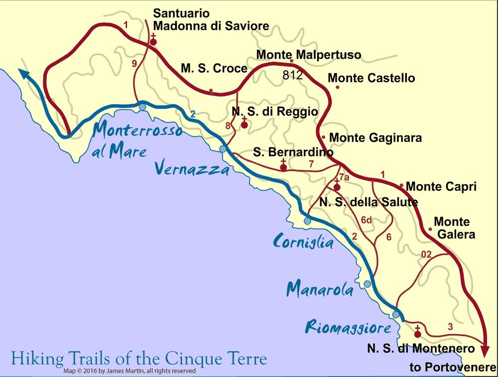 Corniglia Italy Map.Cinque Terre Walking Trail Map Cinque Terre Riviera